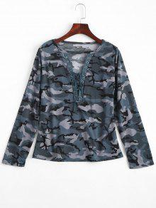Lace Up Cut Out Camouflage Tee - Blue Green M