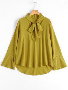 Flare Sleeve Plain Bowtie Blouse - Ginger S