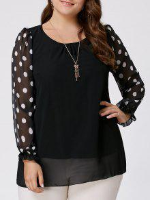 Polka Dot Plus Size Top De Manga Larga De Gasa - Negro 4xl