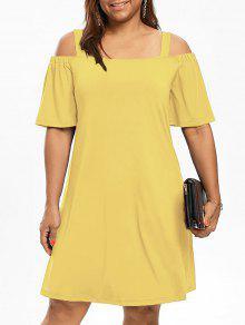 فستان باردة الكتف نصف الأكمام الحجم الكبير - الأصفر 3xl
