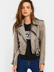 Asymmetric Zipper Belted Faux Suede Jacket