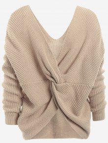 Plunging Neck Twist Back Sweater - Khaki