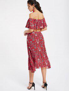 Falda De S Hombros Colmenas Rojo Y Floral Midi Top Z1Pqvv