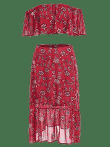 S Hombros De Y Floral Colmenas Rojo Falda Top Midi 78qgwxB