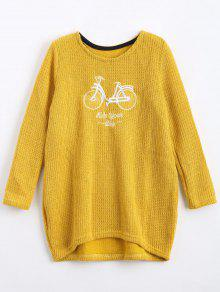 Pull Brodé Message Et Bicyclette Oversize - Moutarde