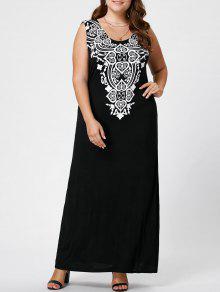 Vestido De Tanque Maxi Gráfico De Tamaño - Negro 3xl