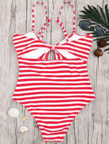 bb75a1fa28c85 25% OFF  2019 Striped Knot Cut Out One Piece Swimsuit In RED WITH ...