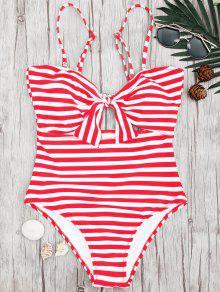 مخطط قطعة واحدة قطع قطعة ملابس السباحة - الأحمر مع الأبيض S