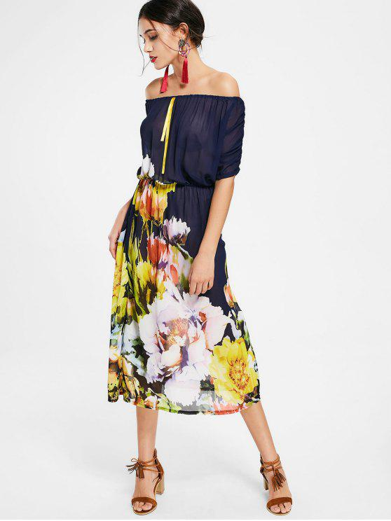 Semi Sheer Off The Shoulder Floral Dress - Floral L