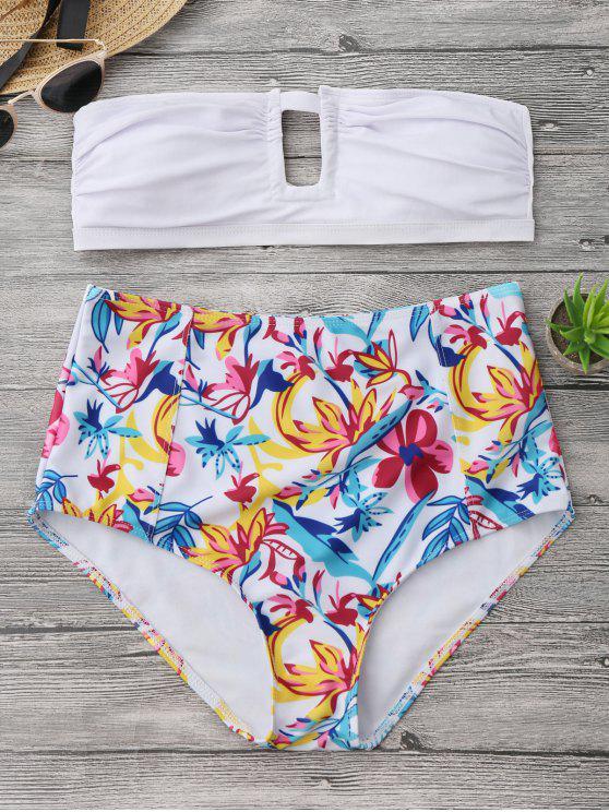 new Floral Strapless High Waisted Bikini - WHITE S