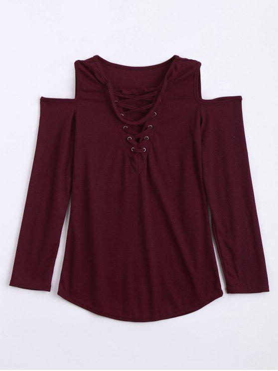 لباس المحبوك بقلادة رباط باردة الكتف - نبيذ أحمر L