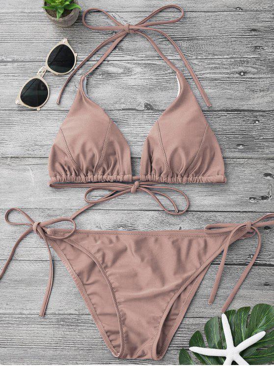 ladies Adjustable Self Tie String Bikini Set - PALE PINKISH GREY L