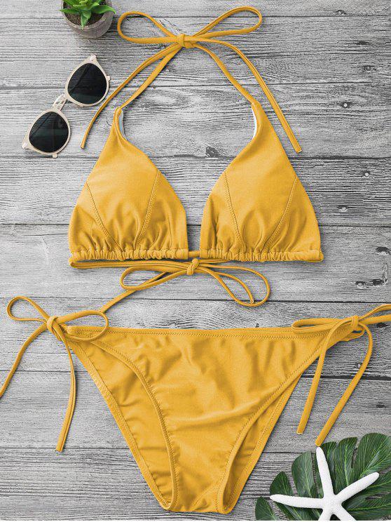 online Adjustable Self Tie String Bikini Set - YELLOW L