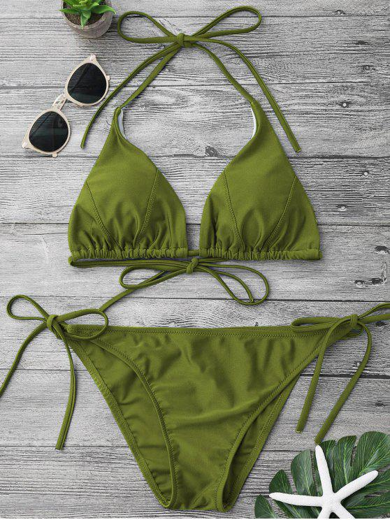 outfit Adjustable Self Tie String Bikini Set - GREEN L