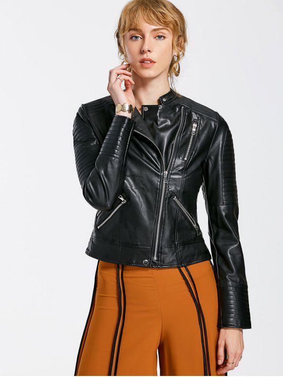 online Embossed PU Leather Motocycle Jacket - BLACK S