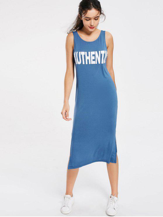 فستان طباعة الحرف انقسام مريح ميدي - أزرق L
