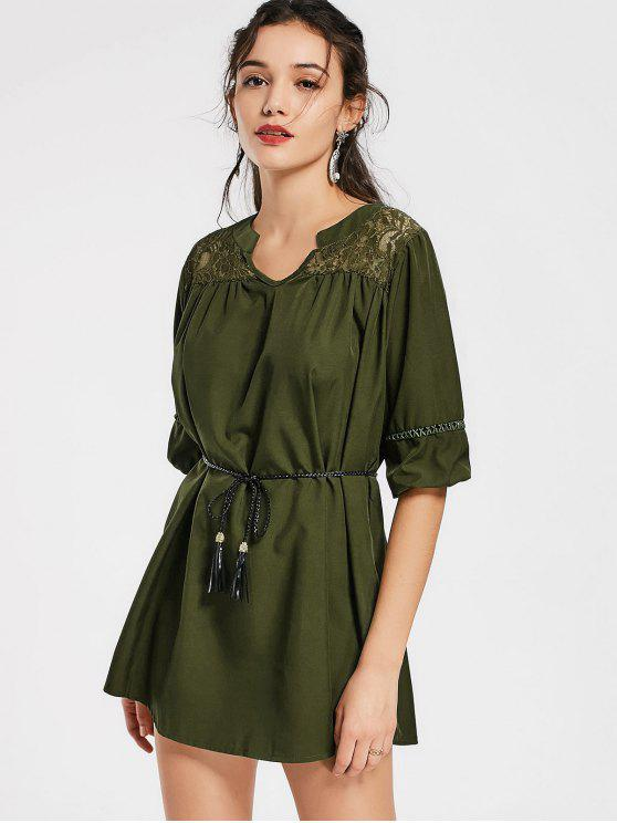 lady Notched Lace Panel Belted Mini Dress - ARMY GREEN L
