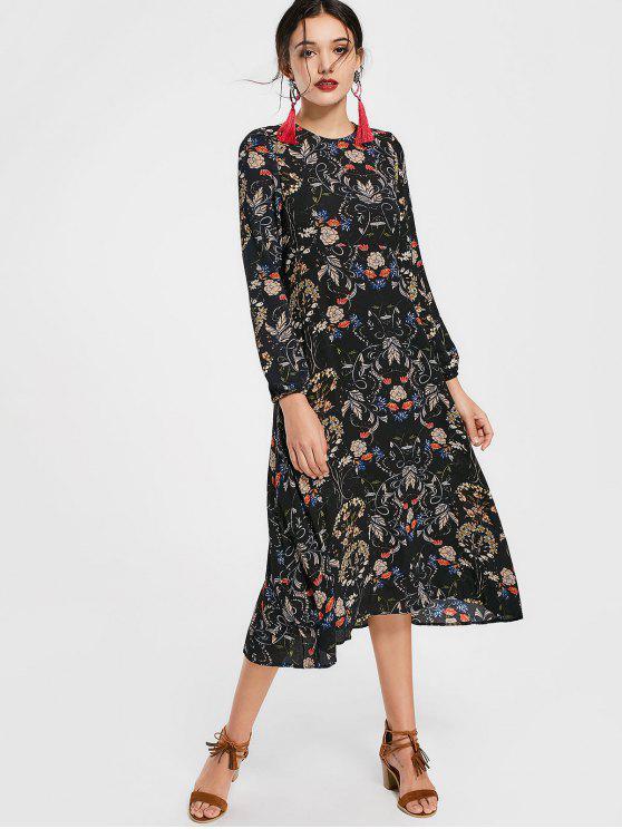 Robe Découpée Imprimée Florale à Manches Longues - Floral M
