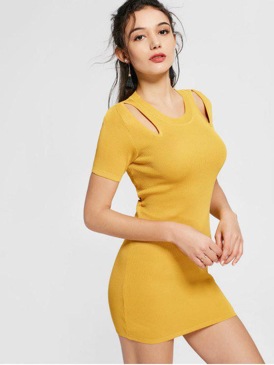 best Cut Out Knitted Fitted Dress - GINGER ONE SIZE