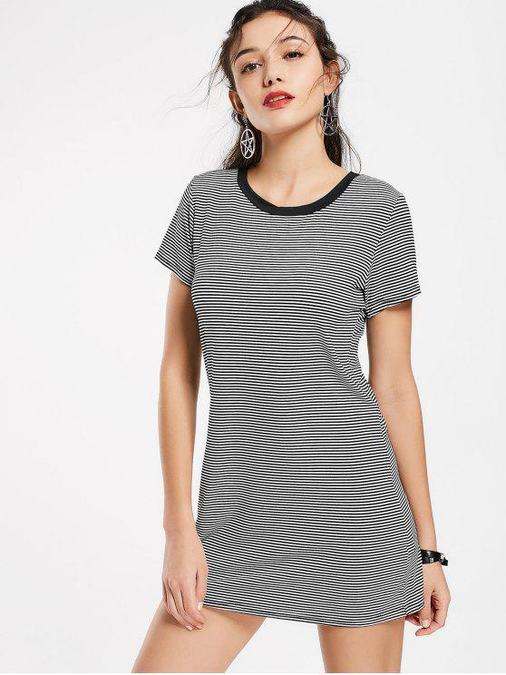 Round Collar Striped Mini Shift Dress