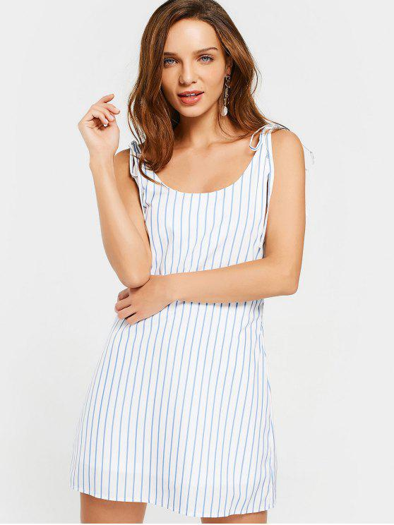 women Stripes Tied Straps Backless Mini Dress - STRIPE M