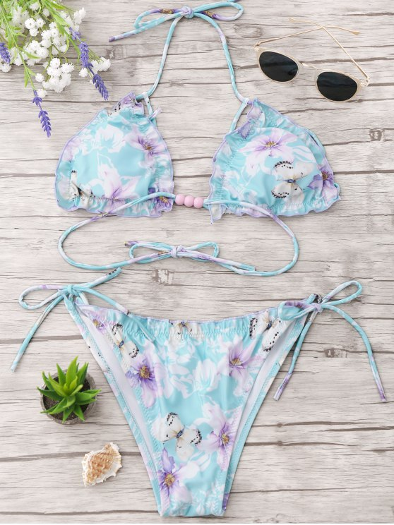 lady Frilled Floral Beaded String Bikini Set - CLOUDY L