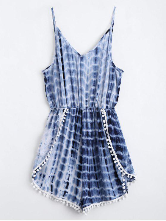 Lace Trim Layered Tie Dyed Romper - Azul Purpúreo XL