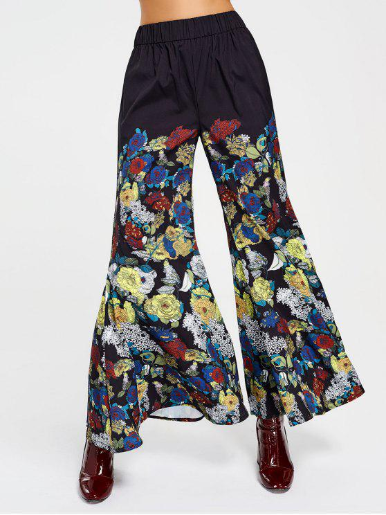 online High Waisted Floral Bell Bottom Pants - FLORAL S