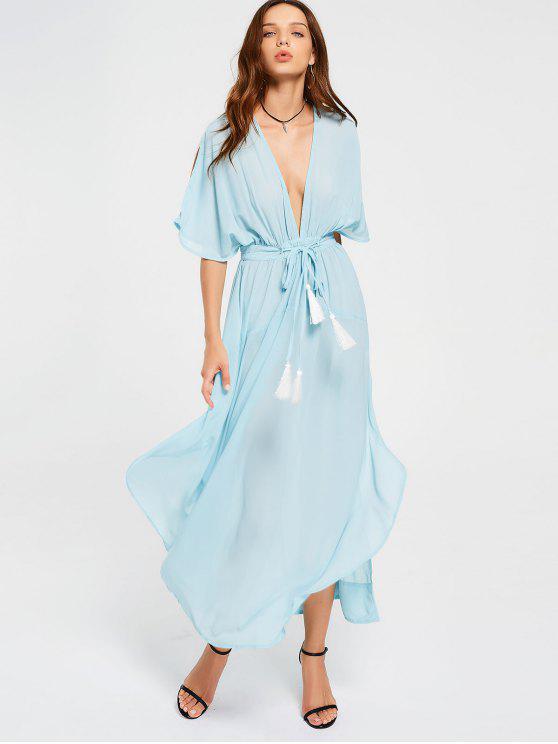 2018 Chiffon Belted Tassels Maxi Dress In LIGHT BLUE S