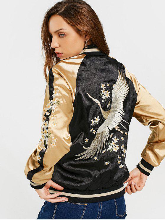 unique Floral Embroidered Double Side Souvenir Jacket - BLACK M