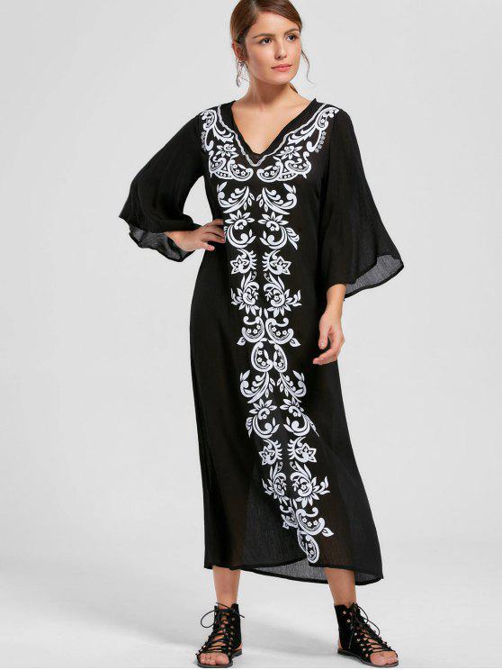 Bandana Floral Flare Sleeve Dress - Noir L