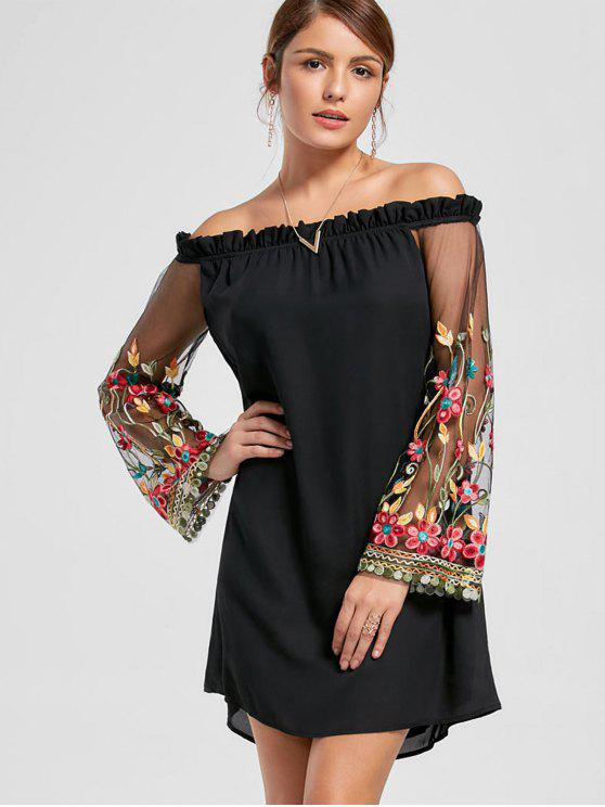 Bordado Flare Sleeve Off The Shoulder Dress - Preto XL
