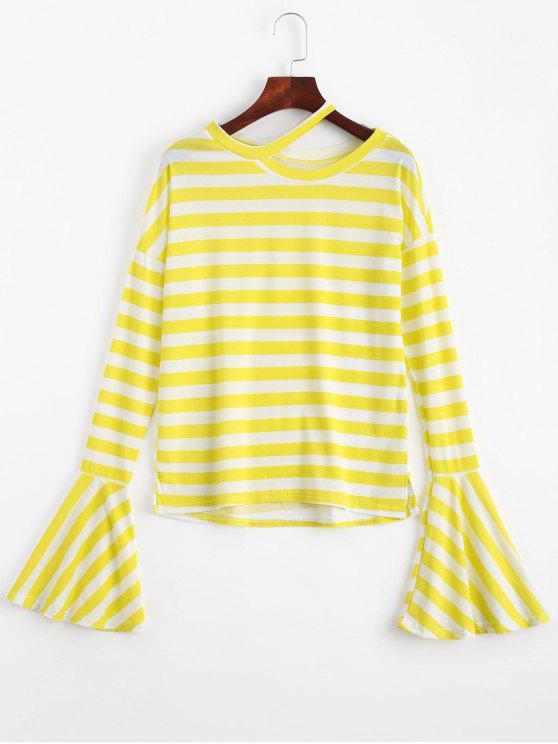 Camiseta con rayas de manga larga - Amarillo Única Talla