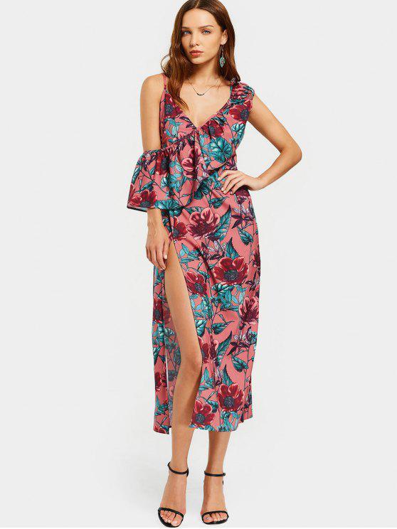 Floral Flounces High Slit Robe Midi - Floral L