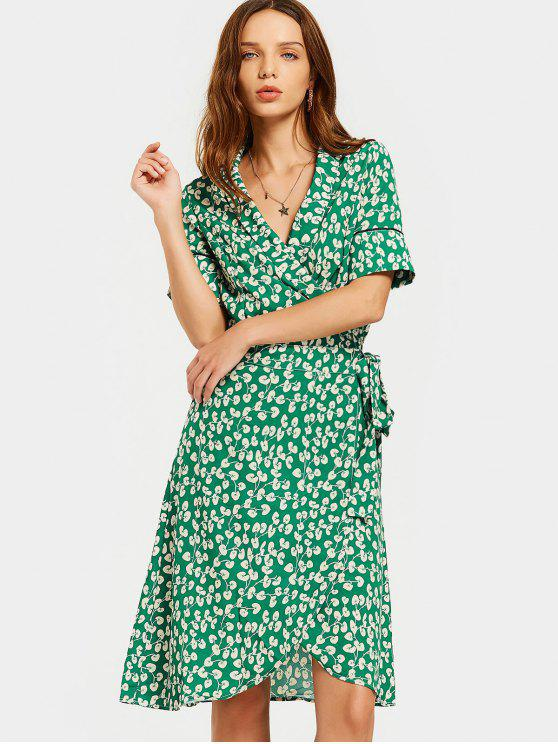 affordable Slit Beach Printed Wrap Dress - GREEN M