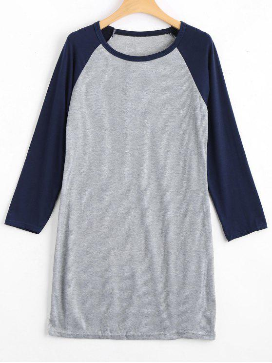 shop Raglan Sleeve Ribbed Knitted Dress - PURPLISH BLUE XL