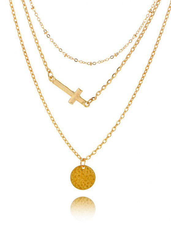 sale Crucifix Circle Disc Pendant Layered Necklace - GOLDEN