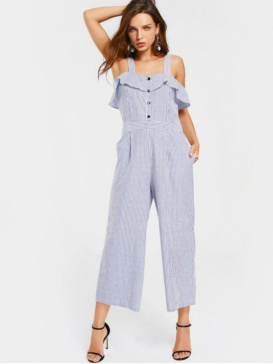 buy Stripes Overlay Half Buttoned Jumpsuit - STRIPE M