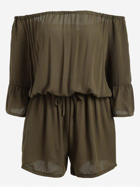 lady Off The Shoulder Flare Sleeve Romper - ARMY GREEN ONE SIZE