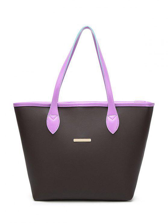 Bolso de hombro embellecido del metal del cuero del faux - Púrpura