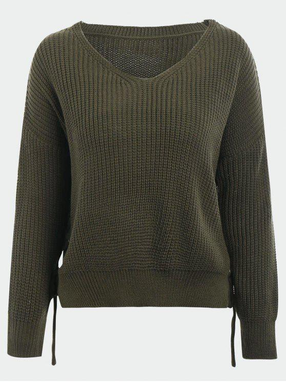 shop V Neck Side Lace Up Sweater - ARMY GREEN ONE SIZE