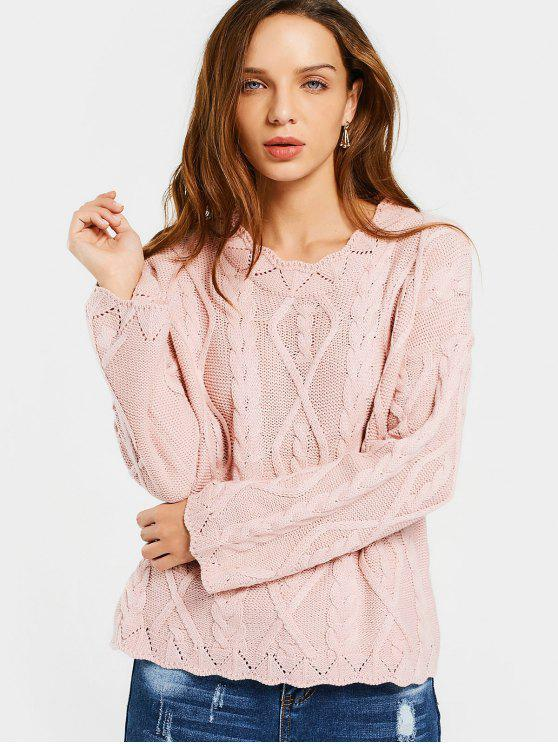 fancy Loose Scalloped Cable Knit Sweater - PINK ONE SIZE