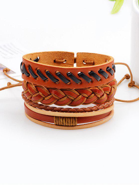 outfits Vintage Woven Faux Leather Bracelets Set - BROWN