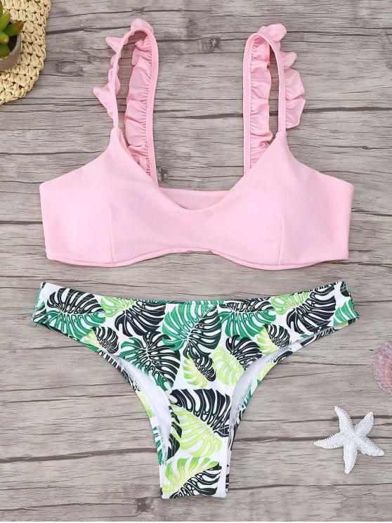outfits Frill Trim Scoop Neck Printed Bikini Set - PINK L