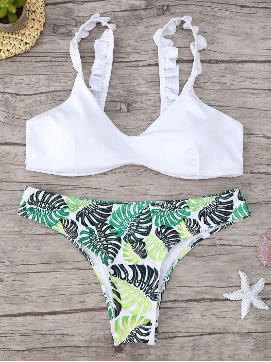 latest Frill Trim Scoop Neck Printed Bikini Set - WHITE S