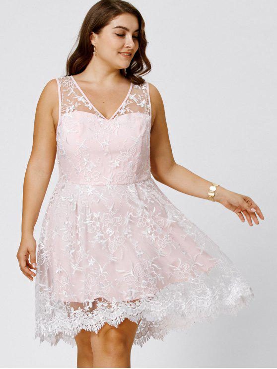 affordable Plus Size Sleeveless Embroidery Skater Dress - PINKBEIGE 3XL