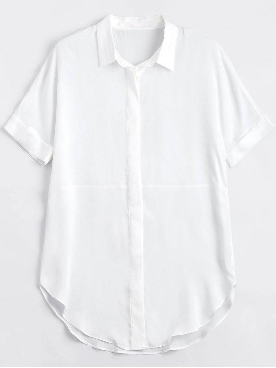 ladies Button Up Plain Longline Shirt - WHITE M
