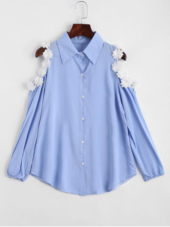 unique Flower Embellishment Cold Shoulder Shirt - SKY BLUE XL