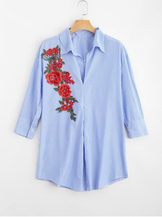 womens Floral Patched Striped Long Shirt - STRIPE XL