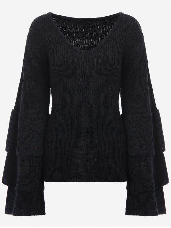 chic V Neck Tiered Flare Sleeve Sweater - BLACK ONE SIZE